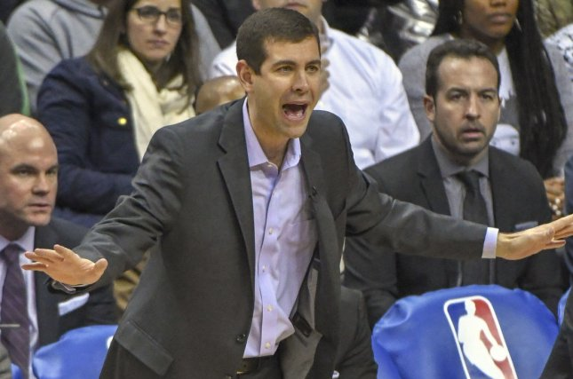 Boston Celtics head coach Brad Stevens reacts after a foul call in the first half on February 8 at Capital One Arena in Washington, D.C. Photo by Mark Goldman/UPI