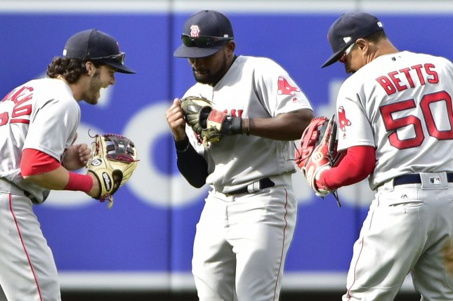 Boston Red Sox outfielders Andrew Benintendi (L), Jackie Bradley Jr. and Mookie Betts celebrate. File Photo by David Tulis/UPI