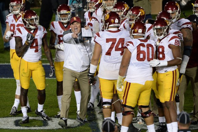 USC Trojans head coach Clay Helton points at the referee during the fourth quarter against the Penn State Nittany Lions during the 2017 Rose Bowl on January 2, 2017 in Pasadena, California. Photo by Jon SooHoo/UPI