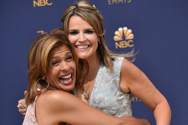 Hoda Kotb (L) and Savannah Guthrie shared a photo with their kids on the famous Sesame Street stoop. File Photo by Christine Chew/UPI