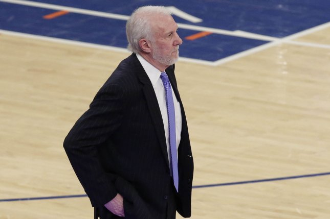 Coach Gregg Popovich and the San Antonio Spurs take on the Indiana Pacers on Friday. Photo by John Angelillo/UPI