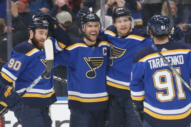St. Louis Blues captain Alex Pietrangelo (27) scored a goal in the first period against the Dallas Stars in Game 6. The Blues defeated the Stars 4-1 to force Game 7. File Photo by Bill Greenblatt/UPI