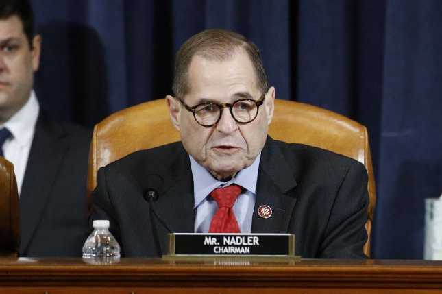House judiciary committee Chairman Rep. Jerrold Nadler votes in favor of the second article of impeachment against President Donald Trump during a hearing Friday on Capitol Hill. Photo by Patrick Semansky/UPI