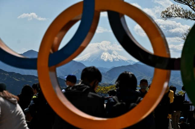 The Olympic rings are seen at the top of Mt. Takao in Hachioji, Tokyo, Japan on April 18. Photo by Keizo Mori/UPI