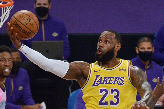 Los Angeles Lakers forward LeBron James recorded 22 points, 11 rebounds and 10 assists in a Play-In Tournament win over the Golden State Warriors on Wednesday in Los Angeles. File Photo by Jim Ruymen/UPI