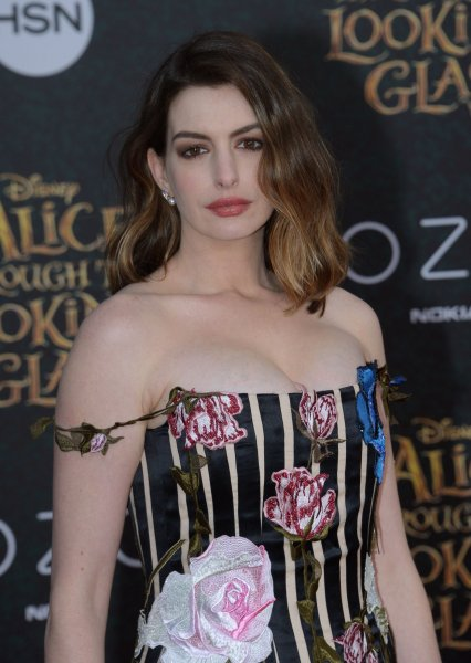 Cast member Anne Hathaway attends the premiere of the motion picture fantasy Alice Through the Looking Glass at the El Capitan Theatre in the Hollywood section of Los Angeles on May 23, 2016. Photo by Jim Ruymen/UPI