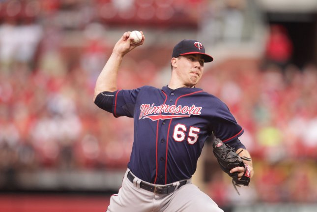 Minnesota Twins starting pitcher Trevor May delivers a pitch to the St. Louis Cardinals in the second inning at Busch Stadium in St. Louis on June 15, 2015. St. Louis defeated Minnesota 3-2. Photo by Bill Greenblatt/UPI