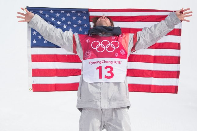 Kyle Mack of the United States celebrates his silver medal in the Men's Big Air Snowboard final in the 2018 Pyeongchang Olympics Saturday at the Alpensia Ski Jumping Centre in Pyeongchang, South Korea. Photo by Matthew Healey/UPI