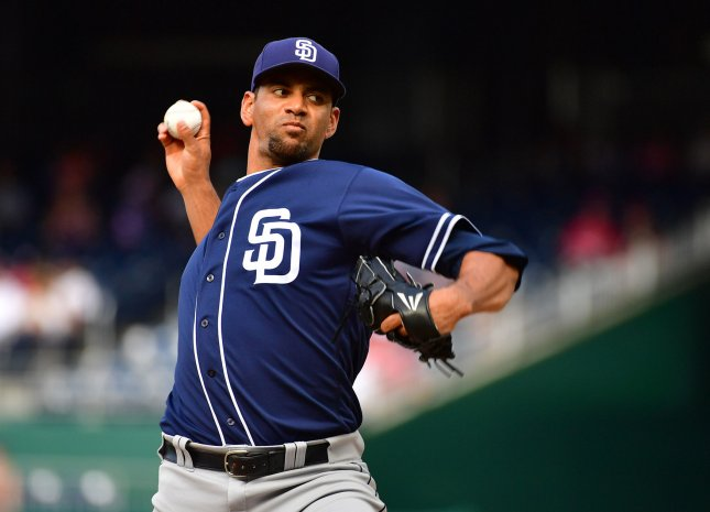 Tyson Ross and the San Deigo Padres face the Texas Rangers on Tuesday. Photo by Kevin Dietsch/UPI