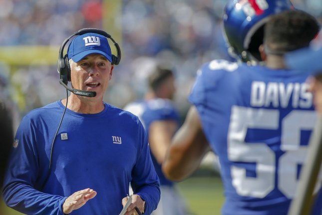 New York Giants head coach Pat Shurmur talks to linebacker Tae Davis during a game against the Carolina Panthers in Charlotte, North Carolina on October 7, 2018. Photo by Nell Redmond/UPI