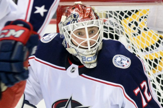 Sergei Bobrovsky and the Columbus Blue Jackets face off with the New York Rangers on Thursday. Photo by Archie Carpenter/UPI