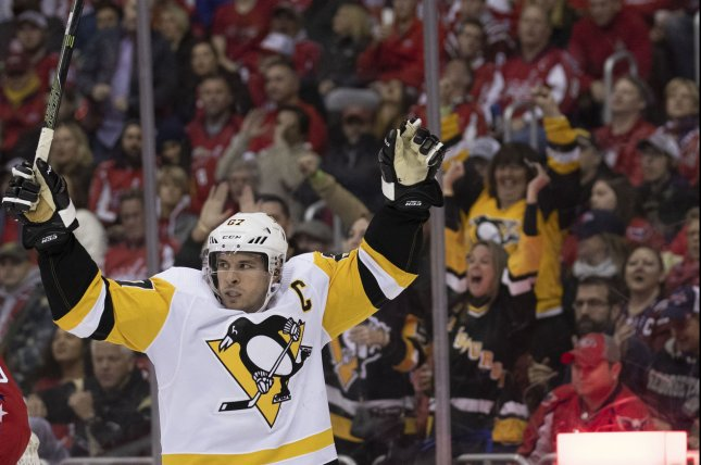 Pittsburgh Penguins center Sidney Crosby (87) earned MVP honors during the 2019 NHL All-Star Game on Saturday. File photo by Alex Edelman/UPI