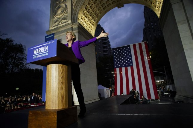 Democratic candidate for president, Sen. Elizabeth Warren, D-Mass., delivers a speech in Washington Square Park in New York City on Monday. Photo by John Angelillo/UPI