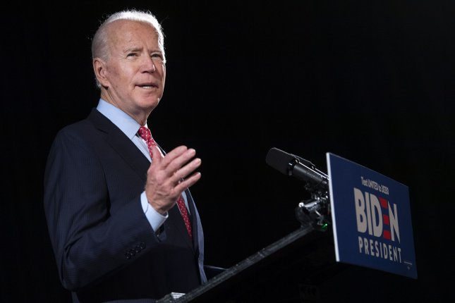 Democratic presidential candidate former Vice President Joe Biden delivers remakes on the coronavirus in Wilmington, Del., on Thursday.Biden established an advisory panel to assist his campaign in dealing with the coronavirus. Photo by Kevin Dietsch/UPI