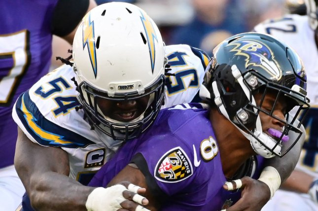 Former Los Angeles Chargers defensive end Melvin Ingram (54), shown Jan. 6, 2019, agreed to a one-year deal with the Pittsburgh Steelers on Monday. File Photo by David Tulis/UPI