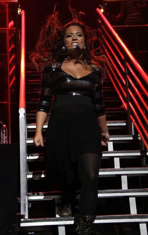 Demi Lovato performs in concert at the Hammerstein Ballroom in New York on September 17, 2011. UPI /Laura Cavanaugh
