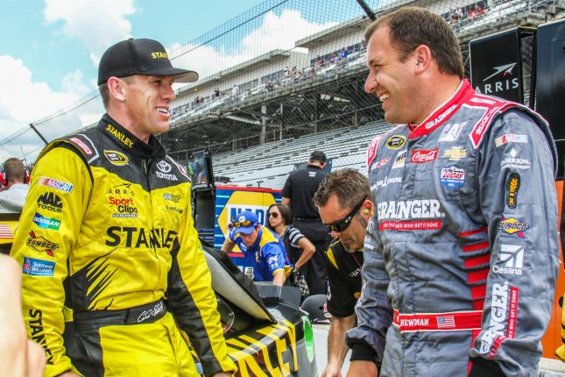 Drivers Carl Edwards and Ryan Newman. Photo by Ed Locke/UPI