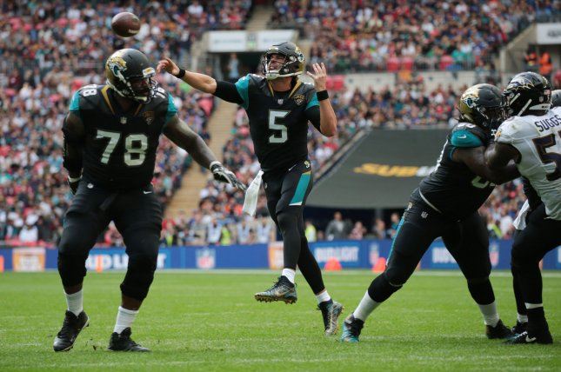 Jacksonville Jaguars Quarter Back Blake Bortles throws the football in the NFL International Series match against the Baltimore Ravens at Wembley Stadium, London on September 24, 2017. File photo by Hugo Philpott/UPI