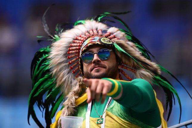 A Brazil fan supports his team during the 2018 FIFA World Cup Group E match on Friday at the Saint Petersburg Stadium in Saint Petersburg, Russia. Photo by Chris Brunskill/UPI