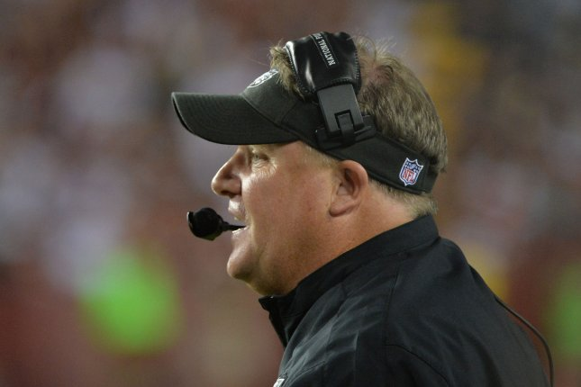 Former Philadelphia Eagles head coach Chip Kelly leads his team against the Washington Redskins on September 9, 2013 at FedEx Field in Landover, Maryland. File photo by Kevin Dietsch/UPI
