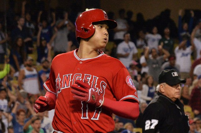 Los Angeles Angels' Shohei Ohtani homered twice in a win against the Texas Rangers on Wednesday in Arlington, Texas. Photo by Jim Ruymen/UPI