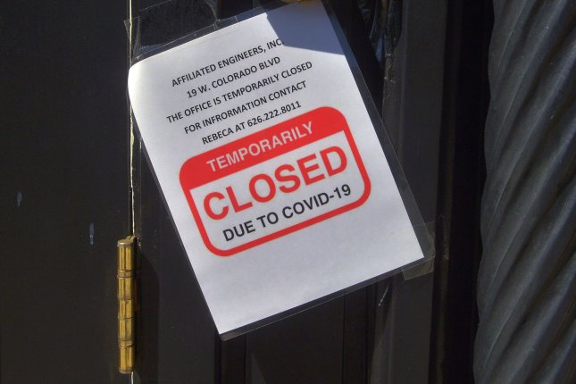 An engineering firm in Pasadena, Calif., announceson April 16 it's temporarily closed due to COVID-19. Photo by Jim Ruymen/UPI