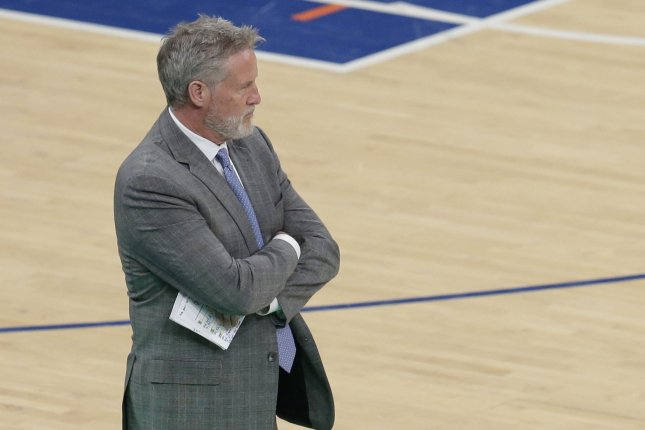 Philadelphia 76ers head coach Brett Brown guided the Sixers to a 43-30 record this season. The Boston Celtics swept the 76ers in the first round of the Eastern Conference playoffs. File Photo by John Angelillo/UPI