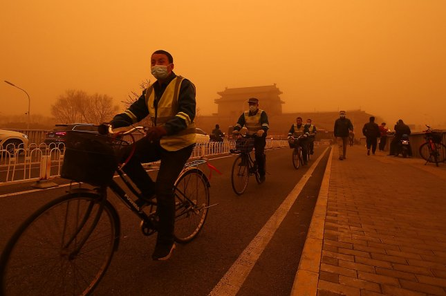 Chinese cities like Beijing grapple with heavy air pollution that originates from deserts in the region. On March 15, a sandstorm reduced visibility to less than 500 yards. File Photo by Stephen Shaver/UPI