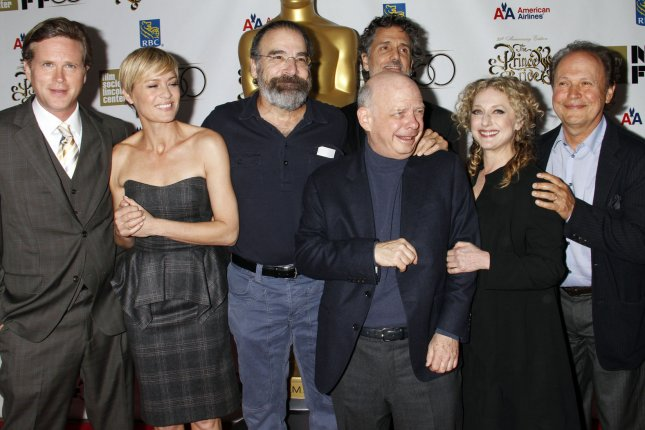 The cast (L-R) Cary Elwes, Robin Wright, Mandy Patinkin, Wallace Shawn, Chris Sarandon, Carol Kane and Billy Crystal attend the 25th Anniversary screening of The Princess Bride at the 2012 New York Film Festival. (File/UPI /Laura Cavanaugh)