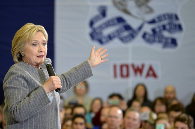 Hillary Clinton spent the weekend campaigning in Iowa, where she and many other candidates are awaiting the outcome of the caucuses. Photo by Mike Theiler/UPI