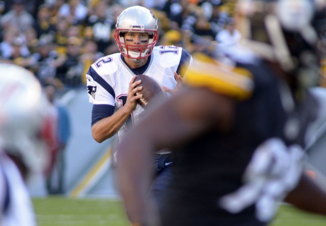 New England Patriots quarterback Tom Brady (12) at Sunday's game against the Steelers. Photo by Archie Carpenter/UPI