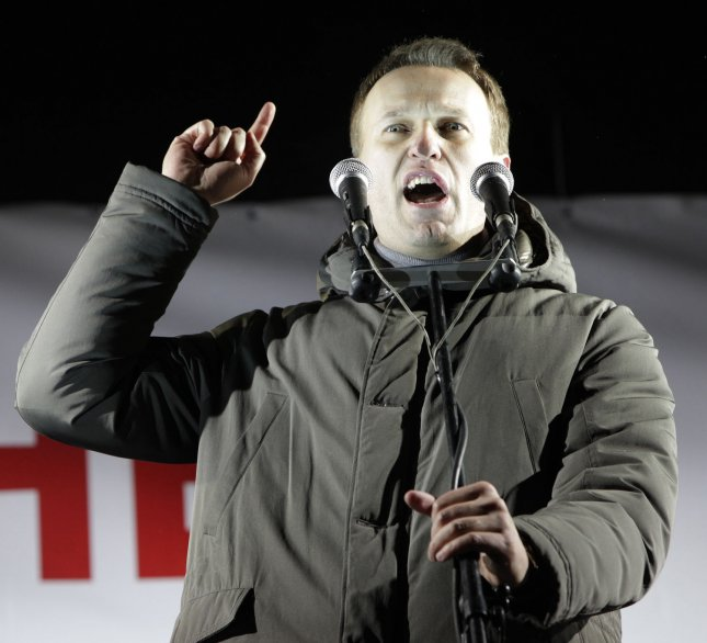 Anti-corruption political leader Alexei Navalny, here speaking at a 2012 rally in Moscow to protest against Vladimir Putin's presidential election victory, announced Tuesday he will run for the presidency in 2018. He is awaiting retrial in a fraud case, after his conviction was overturned by Russia's Supreme Court. File Photo by Yuri Gripas/UPI