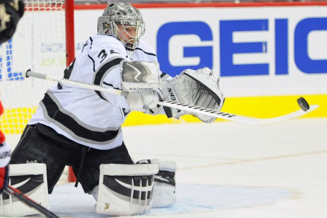 Los Angeles Kings goalie Jonathan Quick makes a save on a shot. File photo by Mark Goldman/UPI
