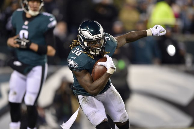 Philadelphia Eagles running back Jay Ajayi (36) runs the ball during the third quarter of the NFC Divisional Round playoff game against the Atlanta Falcons on January 13, 2018 at Lincoln Financial Field in Philadelphia. Photo by Derik Hamilton/UPI