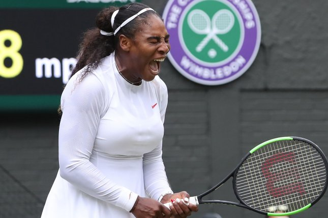 American Serena Williams reacts in her match against Bulgarian Viktoriya Tomova on the third day of the 2018 Wimbledon championships on Wednesday in London. Photo by Hugo Philpott/UPI