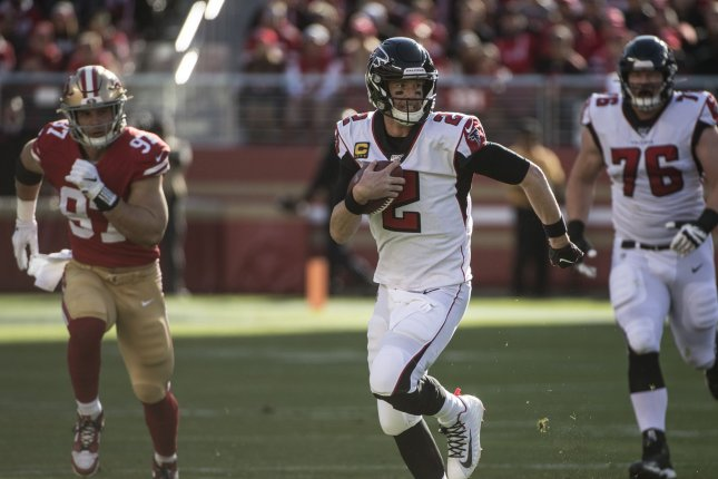 Atlanta Falcons quarterback Matt Ryan (2) scrambles for yardage in the second quarter against the San Francisco 49ers on Sunday at Levi's Stadium in Santa Clara, California. Photo by Terry Schmitt/UPI