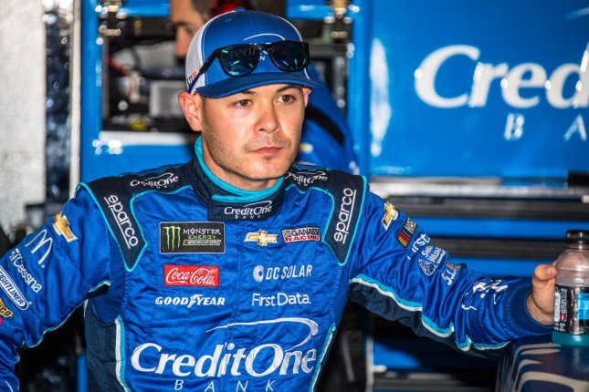 Kyle Larson has been suspended indefinitely from iRacing after using a racial slur during a virtual race Sunday. File Photo by Edwin Locke/UPI