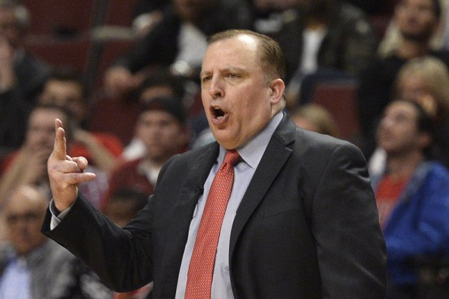 New York Knicks head coach Tom Thibodeau, shown May 14, 2015, won the award for the first time as coach of the Chicago Bulls in 2011. File Photo by Brian Kersey/UPI