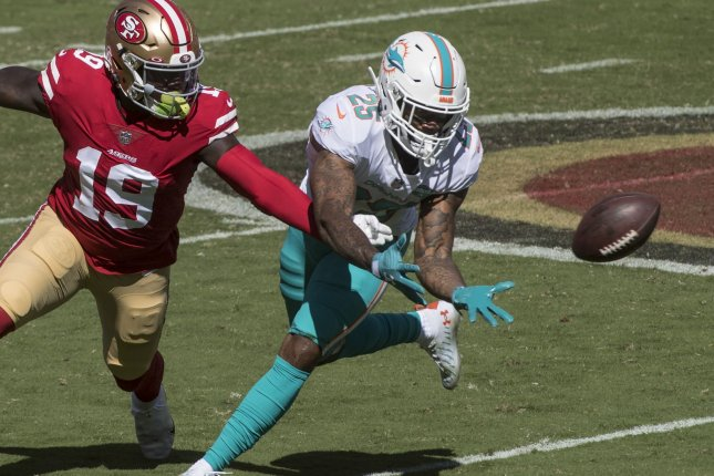 Miami Dolphins cornerback Xavien Howard (R), shown Oct. 11, 2020, led the NFL with 10 interceptions last season and was an All-Pro selection. File Photo by Terry Schmitt/UPI