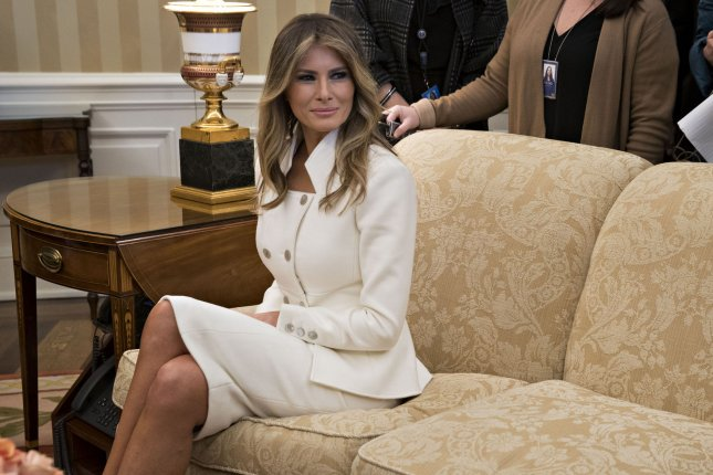 The $150 million defamation lawsuit of Melania Trump, seen here in the White House on February 15, against Daily Mail Online was refiled and amended, omitting references to her earning potential as first lady. The news outlet suggested she used her former modeling career as a cover for work in an escort service. Pool photo by Andrew Harrer/UPI
