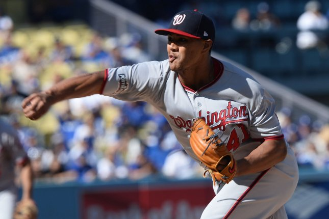 The San Diego Padres battered Washington pitching on Sunday, especially starter Joe Ross, as they avoided the weekend sweep. File photo by Jim Ruymen/UPI