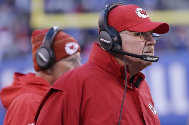 Kansas City Chiefs coach Andy Reid watches from the sidelines during a game against the New York Giants in November. Photo by John Angelillo/UPI