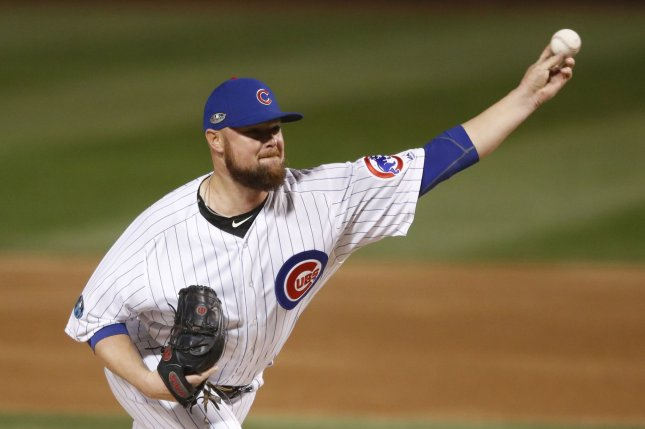 Cubs starting pitcher Jon Lester was pulled with tightness in his left hamstring during Chicago's home opener on Monday against the Pittsburgh Pirates at Wrigley Field. File Photo by Kamil Krzaczynski/UPI
