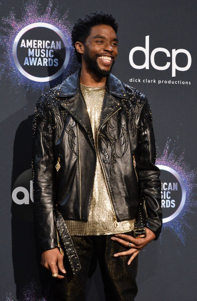 Chadwick Boseman appears backstage during the 47th annual American Music Awards at the Microsoft Theater in Los Angeles on November 24. The actor turns 43 on November 29. File Photo by Jim Ruymen/UPI