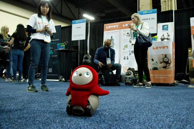The Lovot robot, shown during the 2020 International CES in Las Vegas, mimics a mechanical pet with human emotions. File Photo by James Atoa/UPI