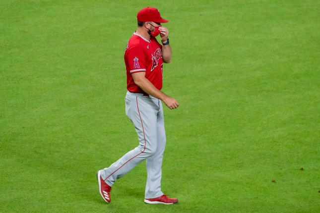 Los Angeles Angels pitching coach Mickey Callaway, shown Aug. 24, 2020, was placed on MLB's ineligible list after the league's investigation into his alleged sexual misconduct. File Photo by Trask Smith/UPI