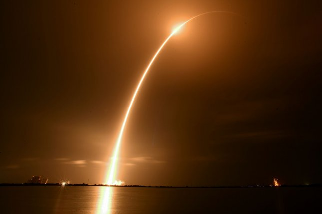 A SpaceX Falcon 9 rocket launches a 7.5-satellite for SiriusXM at 12:26 a.m. Sunday from Complex 40 at the Cape Canaveral Space Force Station in Florida.Photo by Joe Marino/UPI