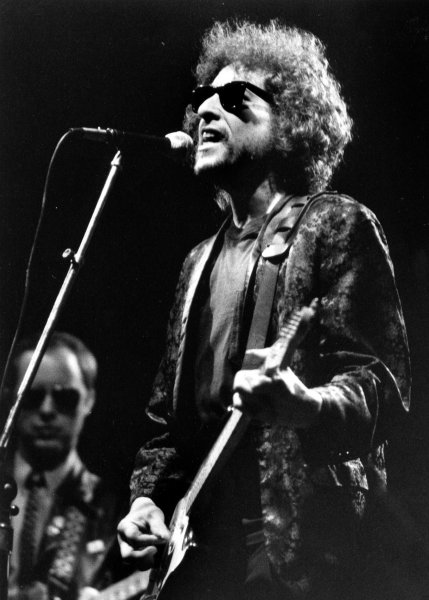 Musician Bob Dylan is seen here in concert 11/12/1981 at the Summit in Houston, TX. -