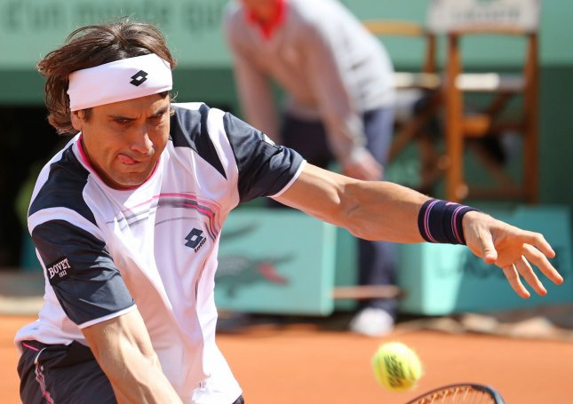 David Ferrer, shown playing in the 2012 French Open, advanced to the second rounds of the UNICEF Open in the Netherlands. Ferrer is the No. 1 seed in the tournament. UPI/David Silpa