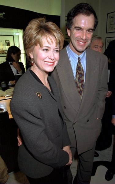 Political cartoonist and creator of Doonesbury, Garry Trudeau, appears with his wife, NBC News Anchorwoman Jane Pauley at the Monblanc Boutique January 16. Trudeau was on hand to autograph copies of Flashbacks: Twenty-Five Years of Doonesbury.